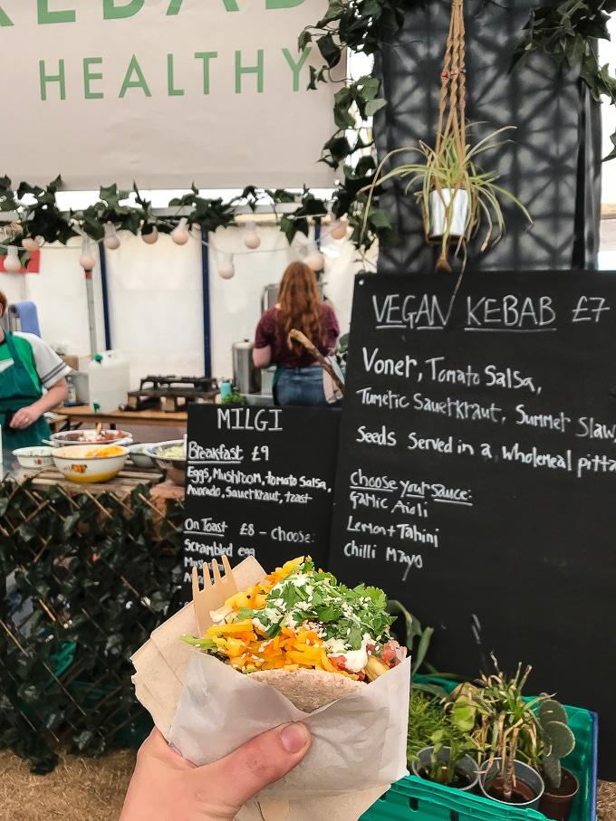 Vegan kebab from Milgi in the Feast Collective at Camp Bestvial review 2018