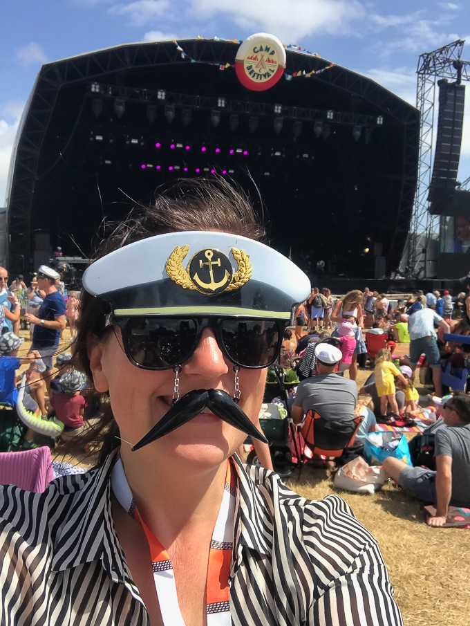 Wearing captain sunglasses at the main stage - Camp Bestival 2018