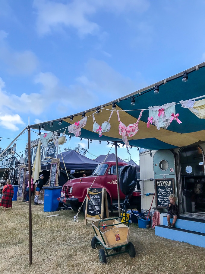 Retro waffle stand festooned with frilly knickers at Camp Bestvial