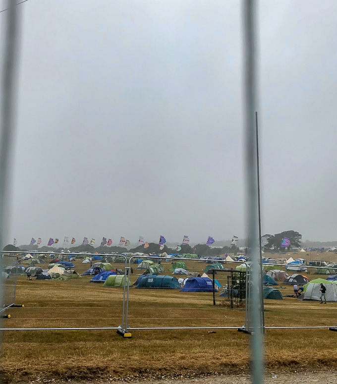 Storm blowing tents around Camp Bestival 2018
