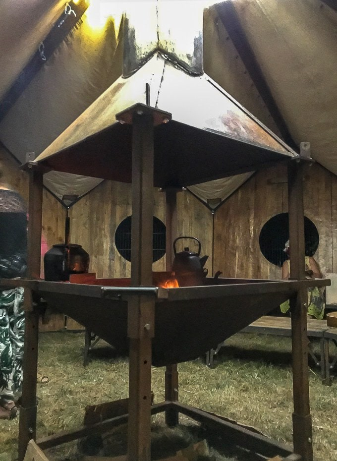 The Magic Teapot wooden hut with fire, tea and music - Camp Bestival Review 2018