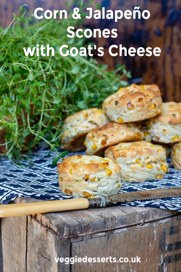 These scones are quick and easy, but they're bursting with flavour from the sweet corn and creamy goat's cheese, with a kick from the pickledjalapeño peppers. #cornscones #scones #savoryscones #jalapeno