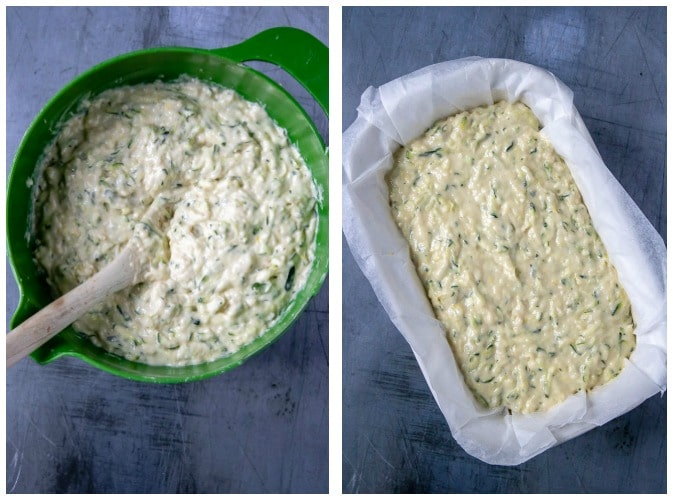 How to make zucchini cake - step 5 - mix the dry ingredients into the wet. Step 6 - pour into the prepared loaf pan and bake