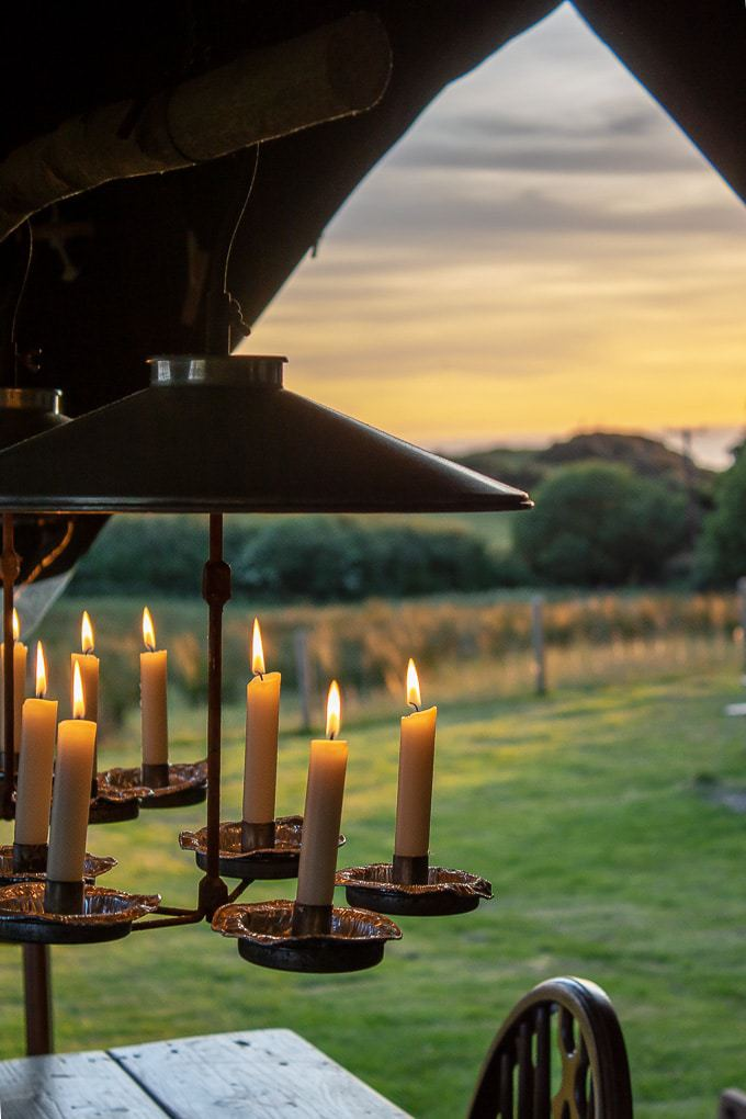 View past candle chandelier at Featherdown farm