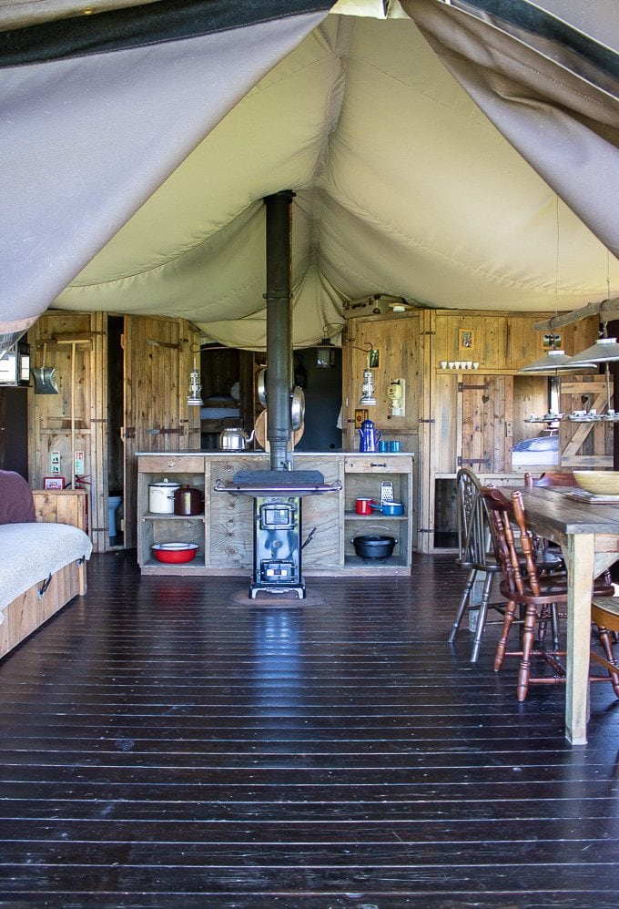 Interior of canvas lodge at Ilfracombe feather down farm, devon glamping