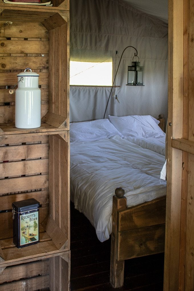 Main bedroom inside Featherdown farms' canvas lodge