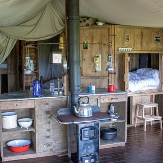 Inside of Ilfracombe Farm Featherdown Farm, glamping UK