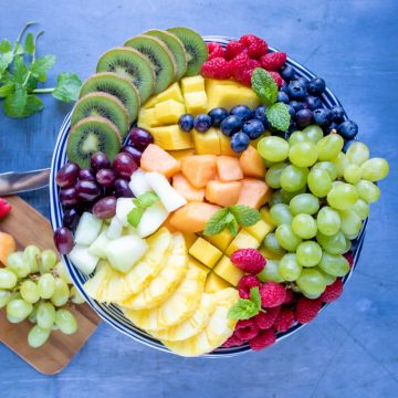 Fruit tray on a platter stand.