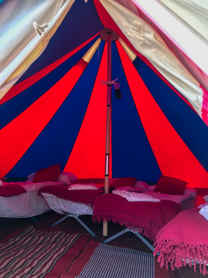 Inside a 4 person bell tent with camp beds and bedding - Bellepads by Podpads review (Camp Bestival 2018)