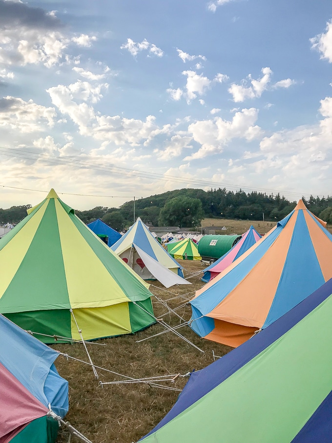 Field of bell tents (Bellepads by Podpads) in Boutique Camping at Camp Bestival