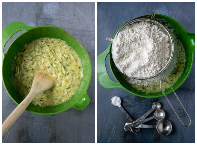 How to make courgette cake - step 3 mix the grated courgette into the wet ingredients. Step 4 - add the dry ingredients
