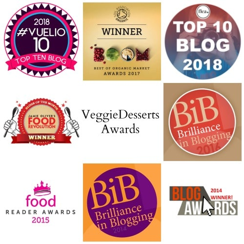 Collage of logos from awards won by Kate Veggie Desserts.
