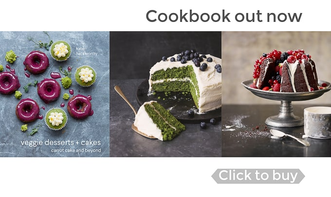 Banner for veggie desserts and cakes - vegetable cake cookbook by Kate Hackworthy