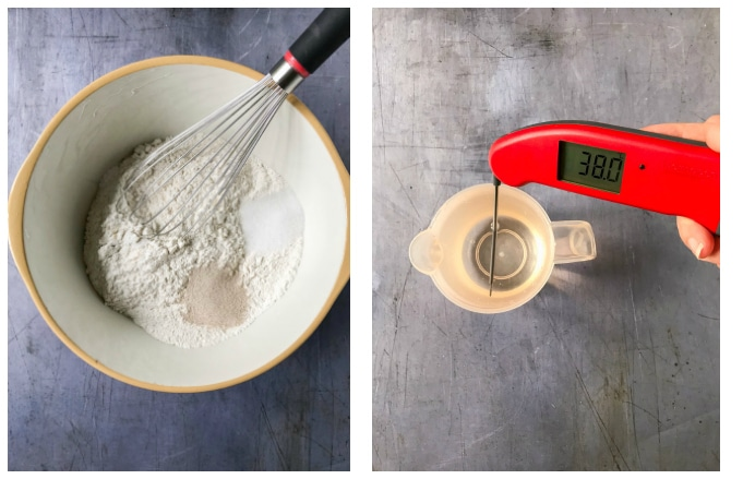 How to make date and walnut bread - step 1 whisk dry ingredients, step 2 add lukewarm water