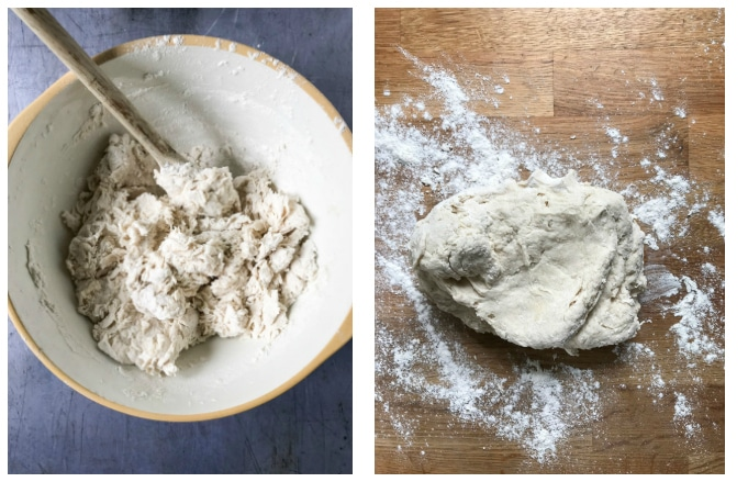 How to make date and walnut bread - step 3 stir ingredients, step 4 knead until smooth