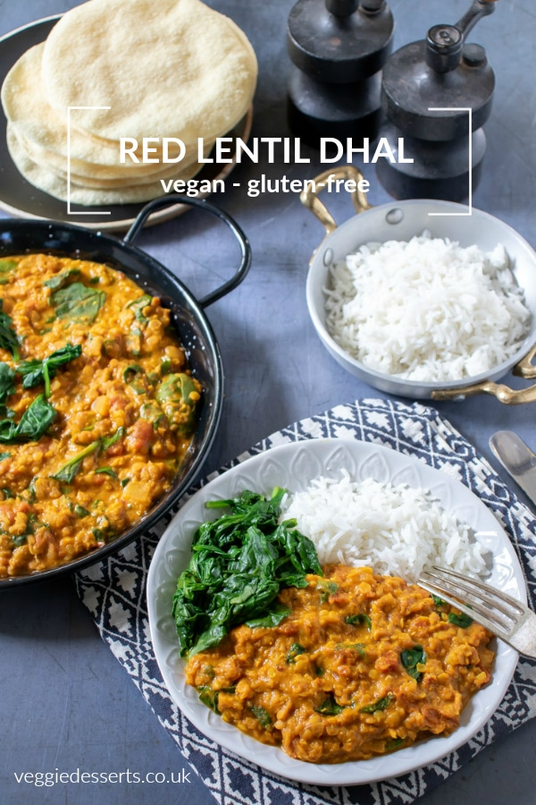 Ready in less than 25 minutes, this quick and flavourful red lentil dahl is a great midweek meal or alternative homemade curry. vegetarian, vegan & gluten free. An easy and tasty dal recipe! #dal #dhal #dahl #glutenfreevegan #redlentil