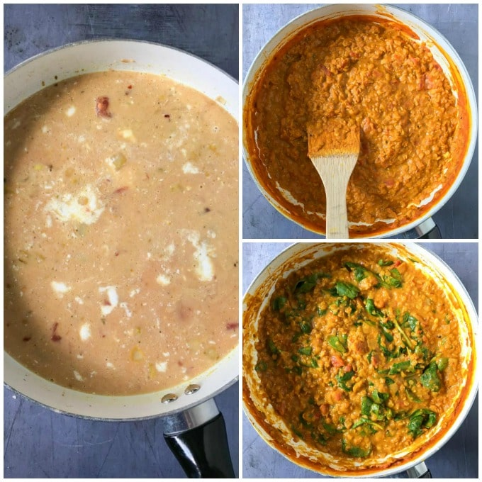 How to make red lentil dahl recipe - step by step tutorial. Add lentils, tomatoes and coconut milk. Simmer until thick then add spinach and lemon juice.