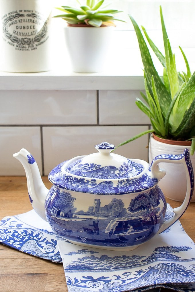 Spode Blue Italian teapot and tea towel