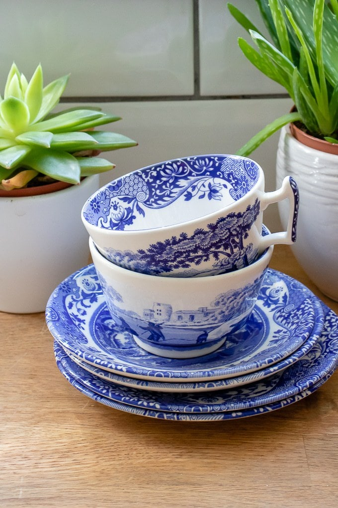 Spode Blue Italian teacups