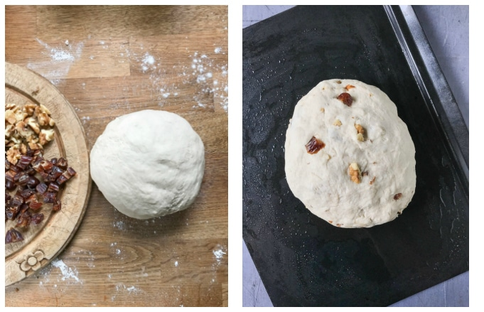 How to make date and walnut bread - step 5 knead in the dates and walnuts, step 6 leave to rise for 1 hour