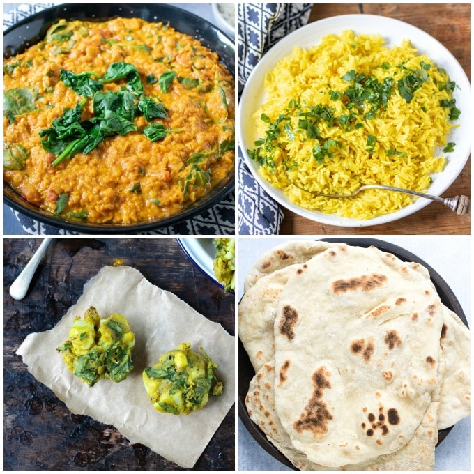 Collage of recipes for a vegan Indian curry meal - Daal, turmeric rice, naan and vegetable pakora
