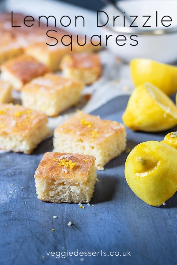 Squares of lemon drizzle traybake with text: Lemon Drizzle Squares