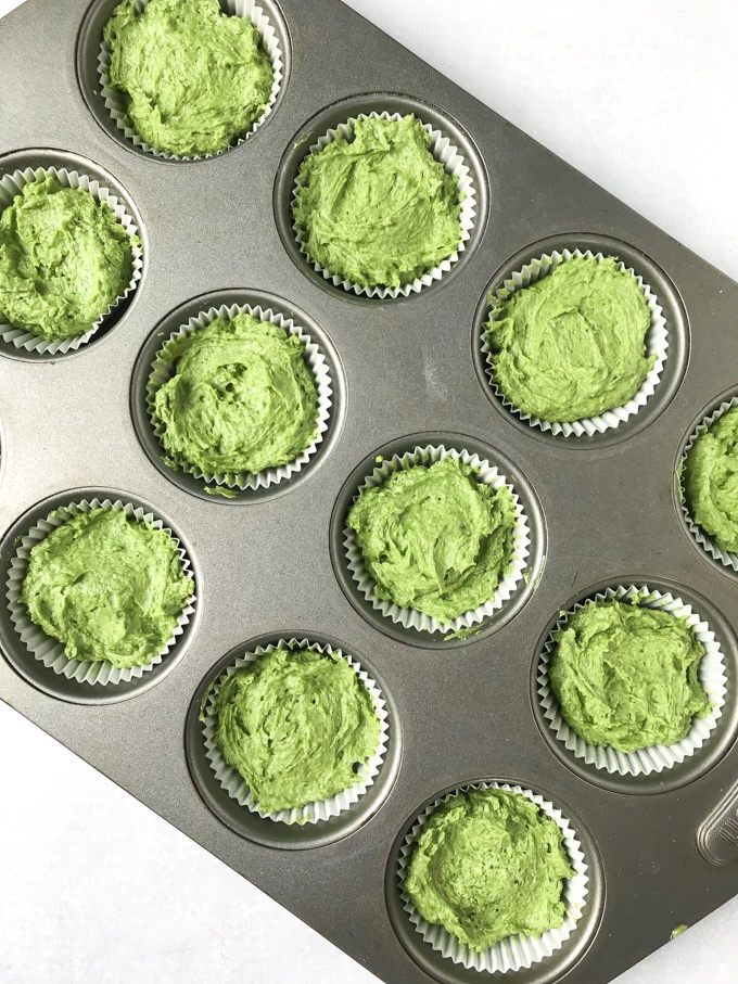 How to make cavolo nero kale cupcakes - spoon into muffin tray and bake