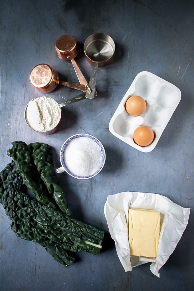 Ingredients laid out for cavolo nero cupcakes