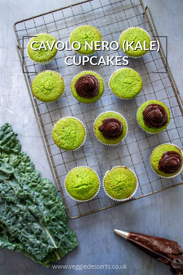 These cavolo nero cupcakes have hidden veg, making them a wonderful bright green colour, but they taste like vanilla! The rich chocolate frosting complements the vanilla-tasting sponge and is a great contrast to the green cake. #vegetablecake #hiddenveg #kalecake #kalecupcake #cavolonero