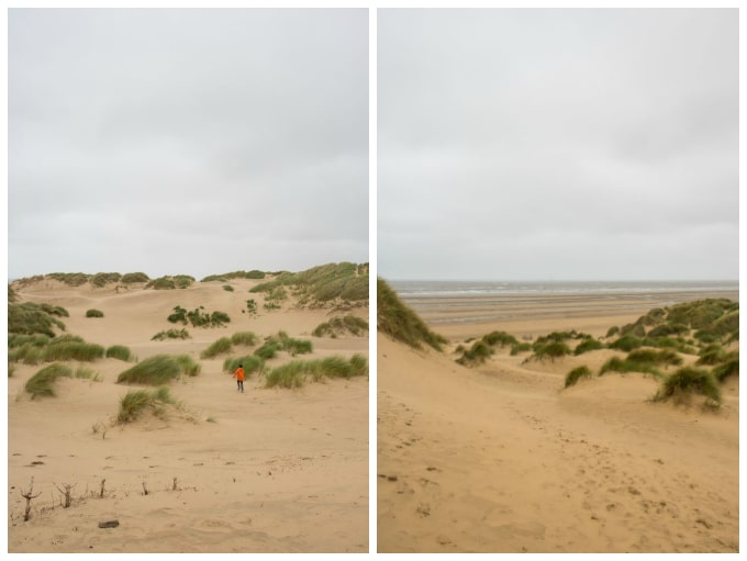 Collage of pictures of sand dunes.