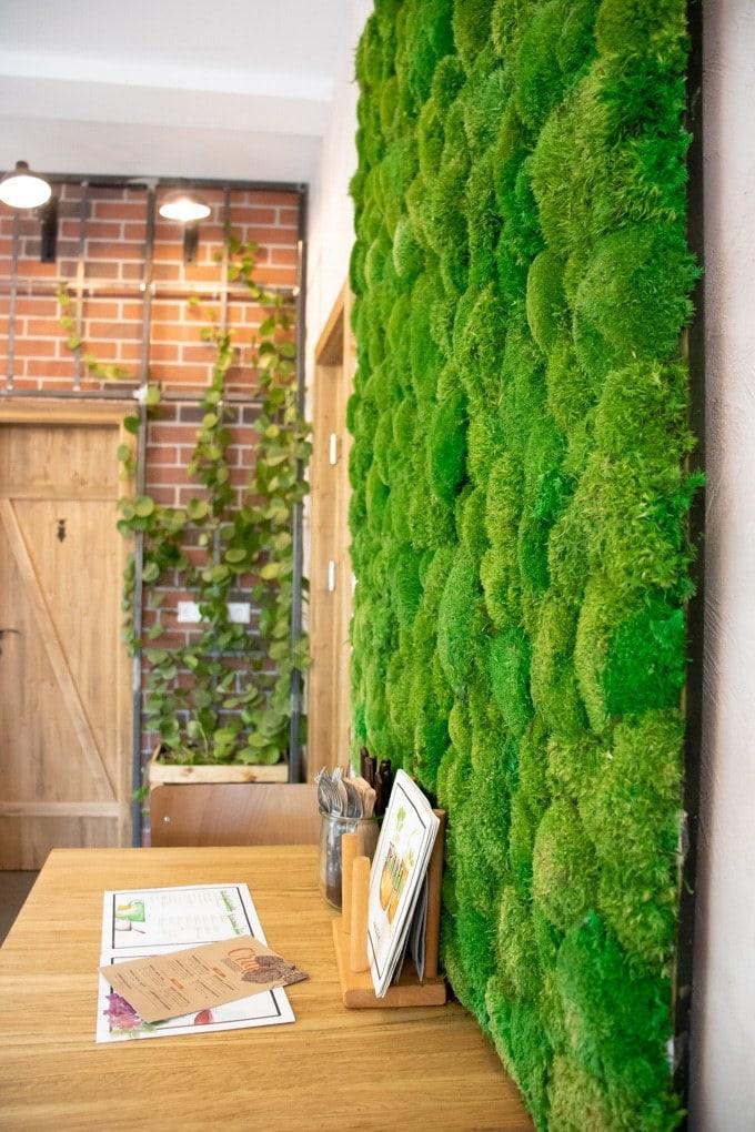 The living wall at Froindlichst vegan restaurant Hamburg