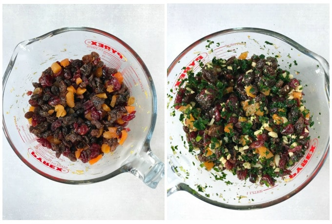 How to make christmas pudding - Step 1: soak the fruit and alcohol overnight. Step 2: add the nuts and citrus juice and zest and stir well.