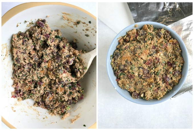 Collage: mixing Christmas pudding, in a cooking bowl.