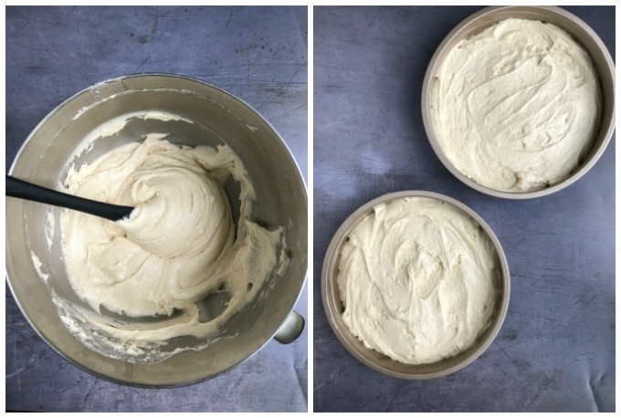 How to make vegan victoria sponge cake: step 3 - mix all ingredients together until smooth. Step 4 - divide the batter between the prepared pans