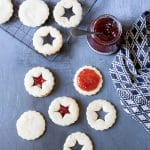Making jammy dodgers recipe (also known in USA as Linzer cookies) shortbread with jam