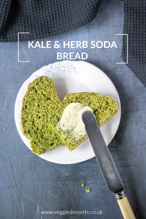 This easy soda bread is naturally green from... kale! The herb soda bread is quick and easy with no yeast and no kneading. It's a quick bread that's perfect alongside soup or toasted with butter. #sodabread #irish #stpatricksday #kale