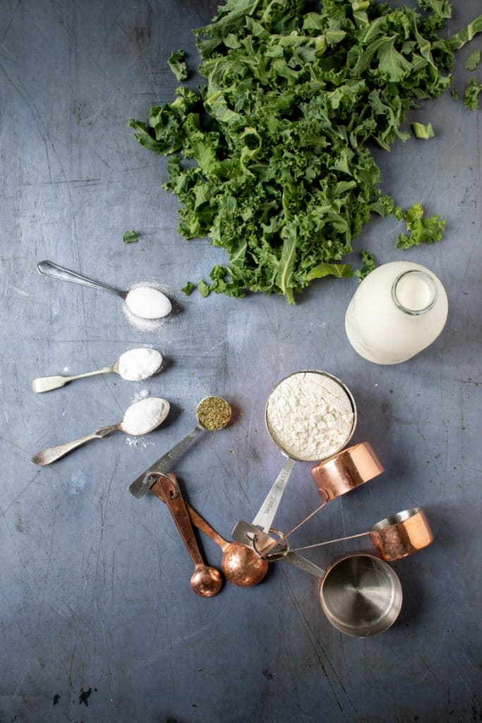 Ingredients laid out to make kale herb soda bread recipe