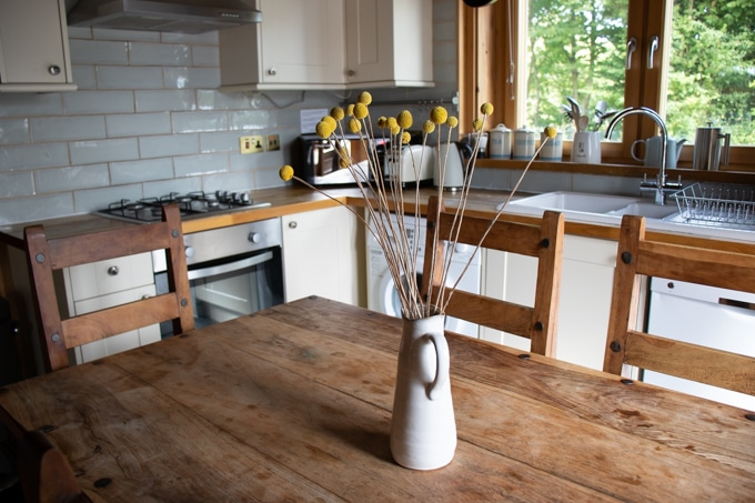 Kitchen at Kaisers Cabin Log House Holidays - lakeside in the Cotswolds UK