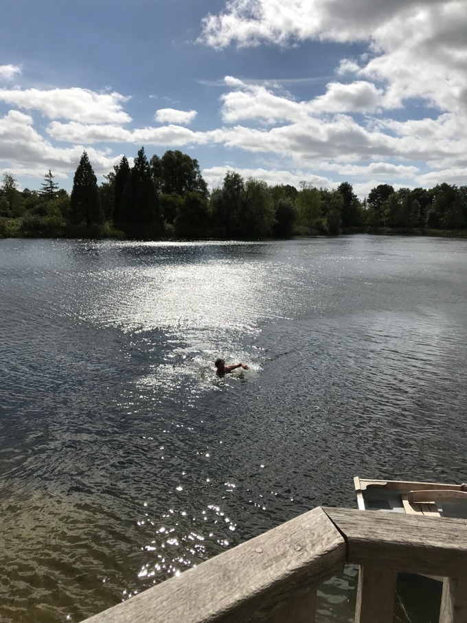 Wild Swimming in the lake - log house holidays review