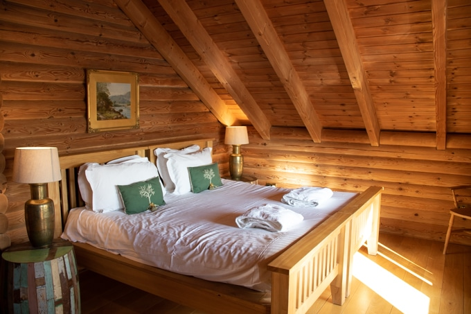 Inside Kaiser's Cabin at Log House Holidays Cotswolds - luxury log cabins with hot tubs