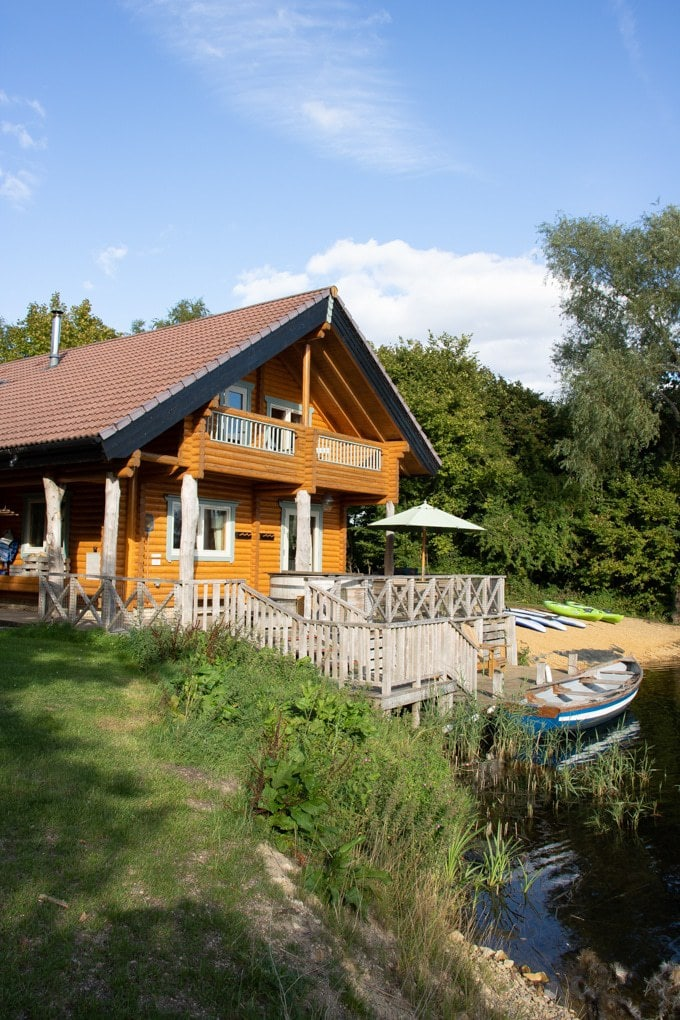 View of Kaisers Cabin log cabin holiday UK - Log House Holidays in the Cotswolds