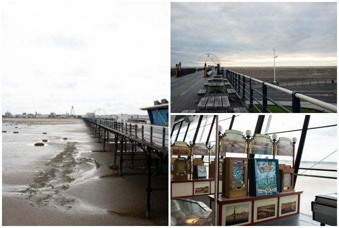 Collage of pictures of a pier.