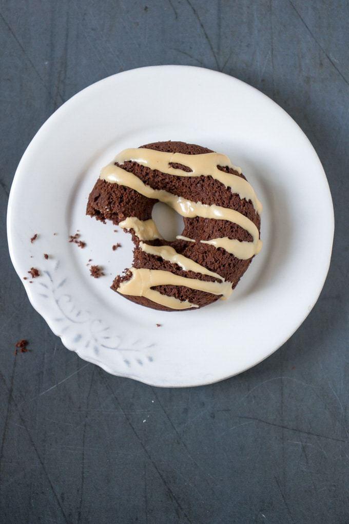 Baked Vegan Chocolate Doughnuts with Earl Grey Glaze