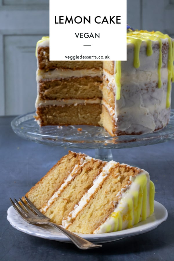 This vegan lemon cake recipe is so easy! Follow my step by step tutorial and soon you'll have a moist, fluffy, zingy layer cake to tuck into. It's not only pretty but tastes so good that nobody would guess that it's a dairy free and egg free vegan cake. #vegancake #veganlemoncake #veganbirthdaycake #veganlayercake #lemoncake
