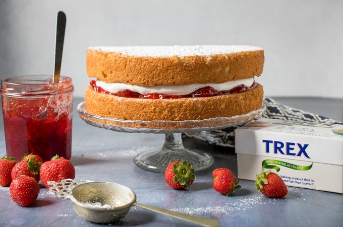 Vegan Victoria sponge cake on a cake stand with strawberry jam next to it