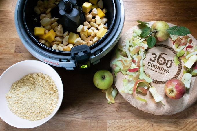 A Tefal Actifry air fryer with apple crumble recipe