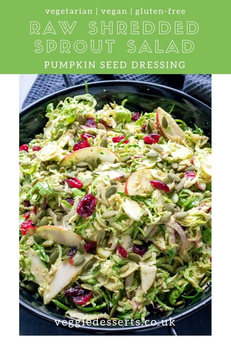This Brussels Sprout Salad combines shredded raw sprouts, crisp tangy apples, sharp red onion and jewels of dried cranberries. The salad is tossed in a tasty and simple toasted pumpkin seed dressing. Enjoy this flavourful sprout salad as a side dish, lunch or light dinner. #brusselsprouts #wintersalad #sproutsalad