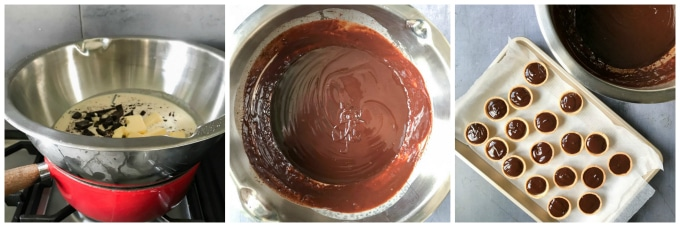 How to make chocolate tarts. Step 1 melt the cream, butter and chocolate together. Step 2: stir well until melted. Step 3: pour into pastry shells