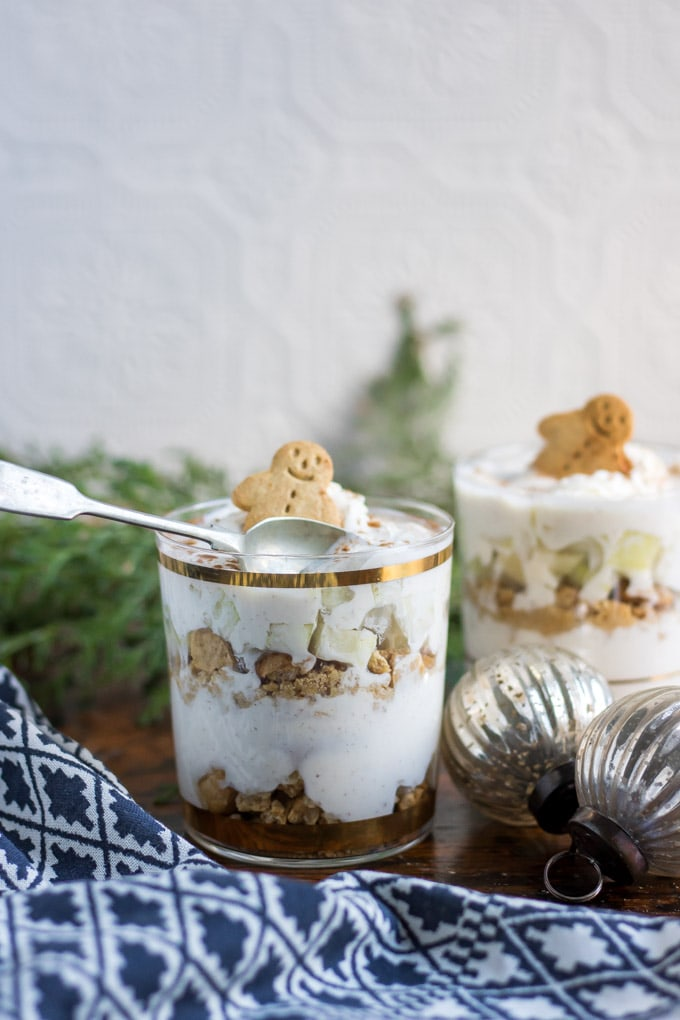 Parfait in glasses with a spoon.