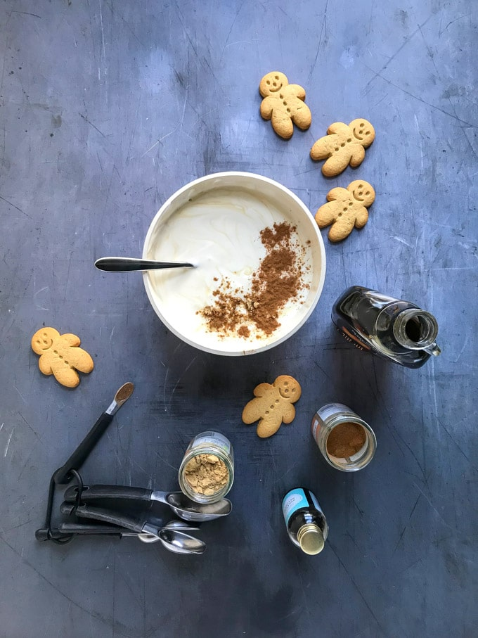 How to make Pear Gingerbread Parfait - Step 1: Mix the yogurt, spices, vanilla and maple syrup to make gingerbread yogurt.